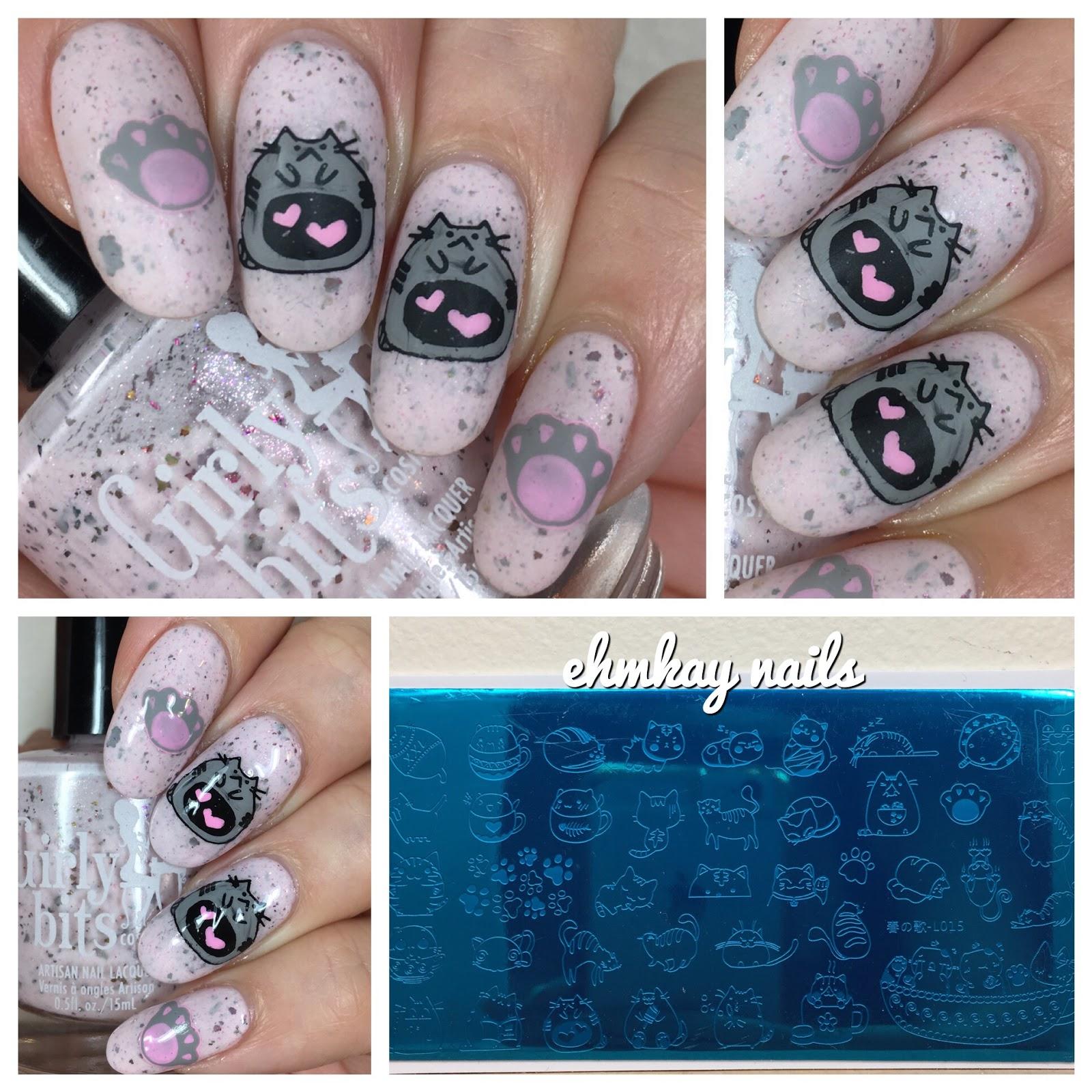 ehmkay nails: Born Pretty Pusheen Valentine\'s Day Reverse Stamping