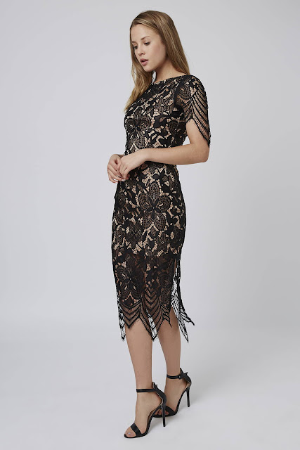 goldie lace midi dress, scallop shoulder lace dress,