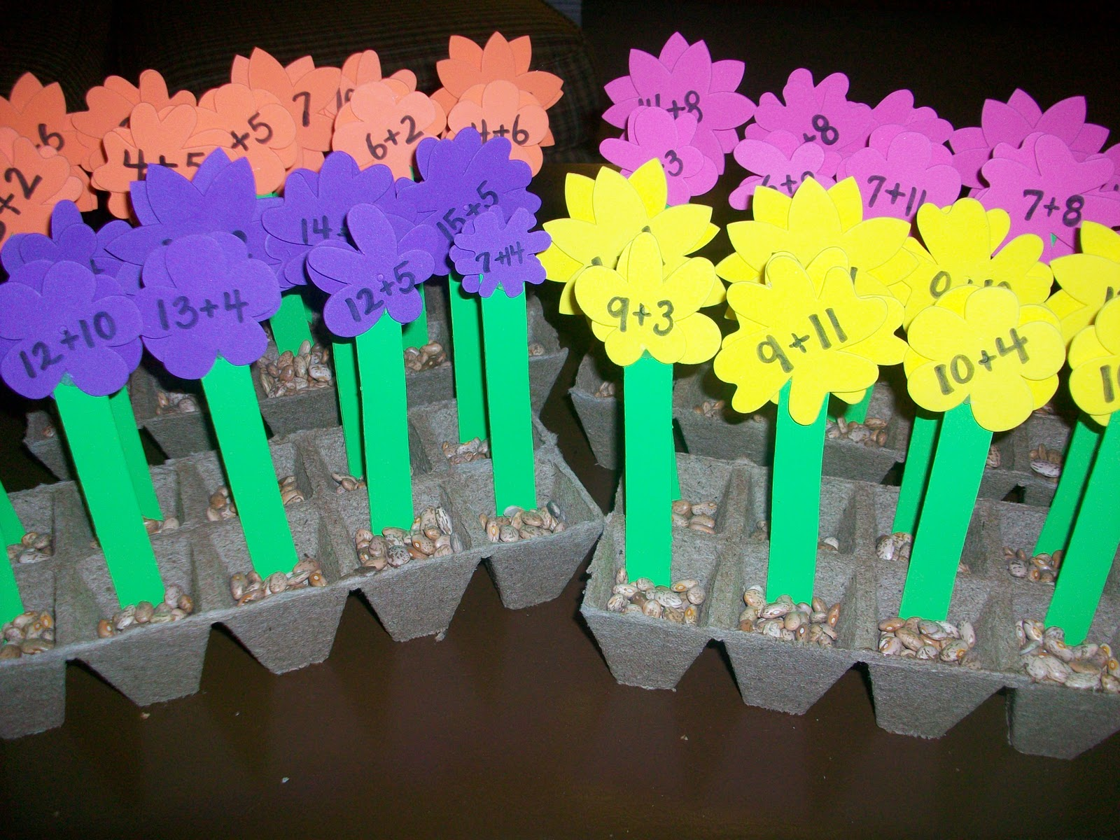 First Grade School Box Self Correcting Math Flowers