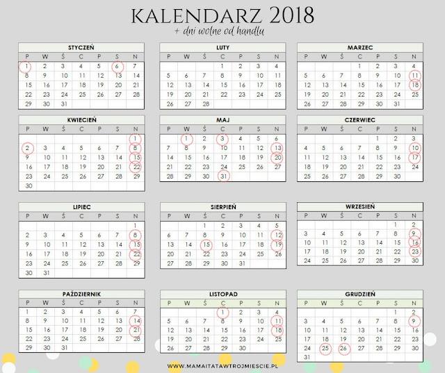 Niedziele wolne od handlu - kalendarz 2018