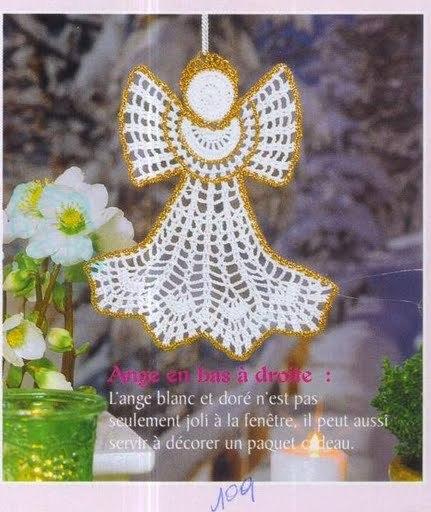 enfeite natal anjo de crochê com gráfico