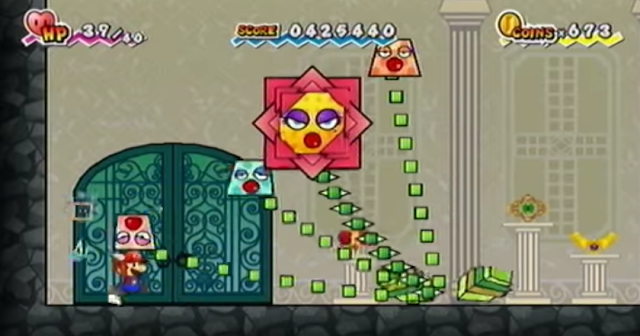 Super Paper Mario King Croacus boss battle fight flower plant beauty