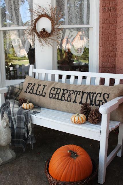 Burlap fall greetings pillow