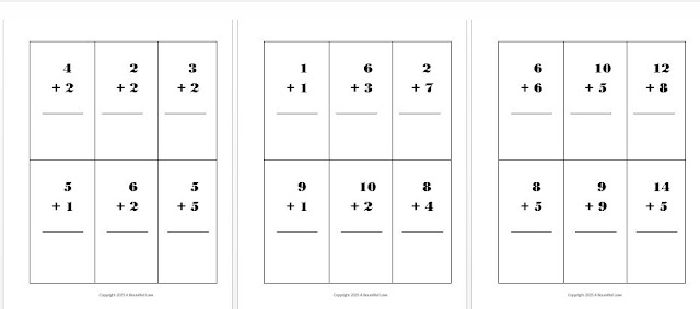 Free Addition Flashcard printable