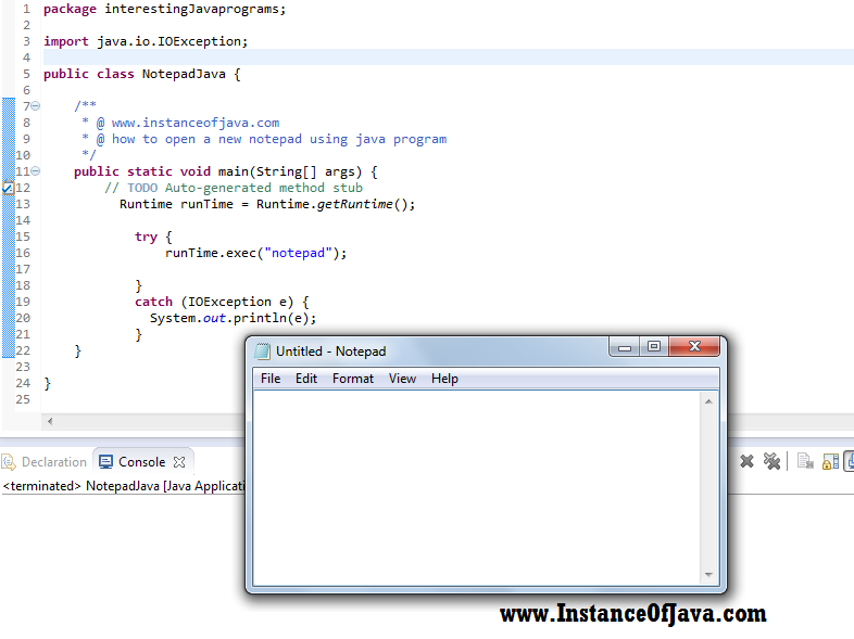 open notepad using java
