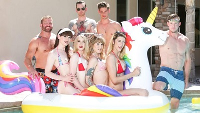 Genderx – Trans Pool Party – Casey Kisses, Janelle Fennec, Lena Moon, Natalie Mars