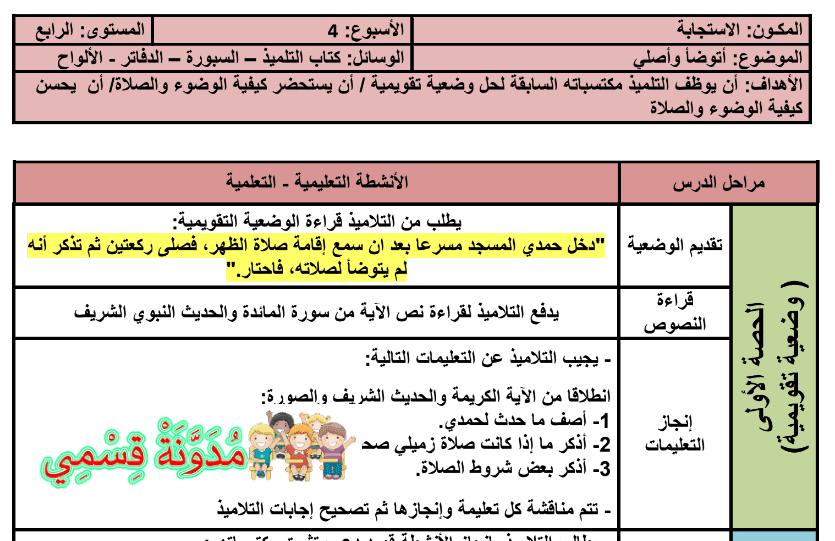 جذاذات المنير في التربية الإسلامية للمستوى الرابع ابتدائي