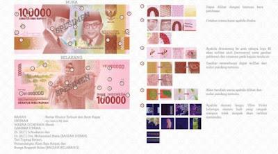 Uang rupiah Baru pecahan Rp 100 ribu kertas