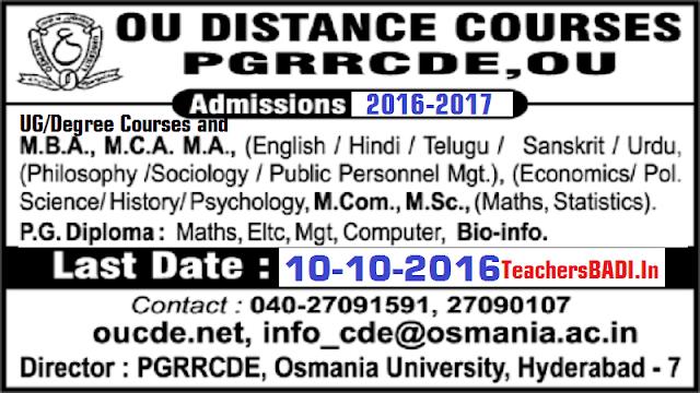 OU CDE PG,Degree/UG Admissions 2016-17 at Osmania University