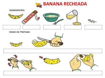 preparar a receita de banana recheada em Libras