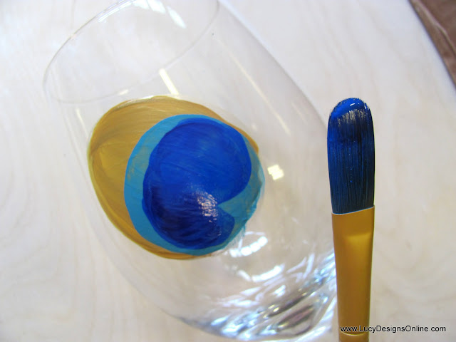 painted peacock feather wine glass DIY Filbert Paint brush