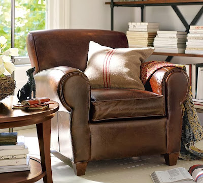 Pottery Barn Manhattan Leather Chair And Ottoman Decor
