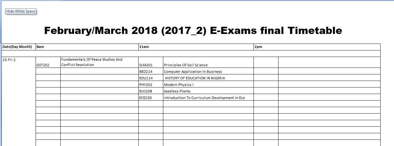 draft exam timetable
