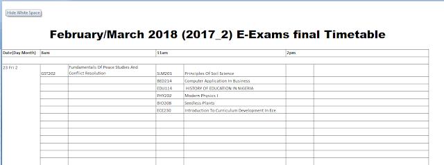 Noun e-Exam timetable final draft 2018