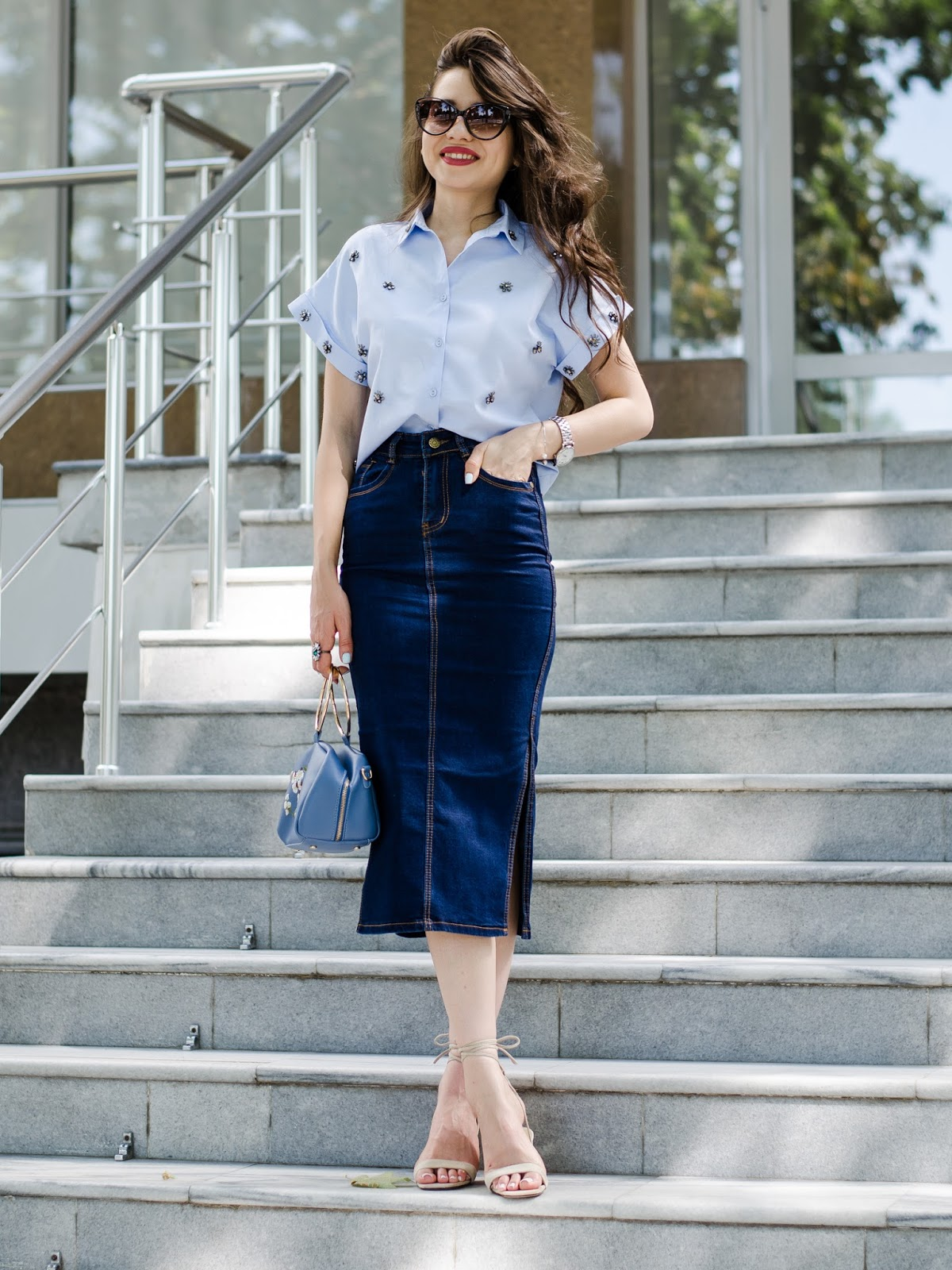fashion blogger diyorasnotes diyora beta midi skirt denim skirt shirt heeled sandals casual chic work outfit