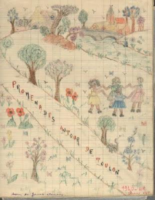 Cahier de classe promenade, dessin de Jeanne Meunier, année scolaire 1940-1941 (collection musée)