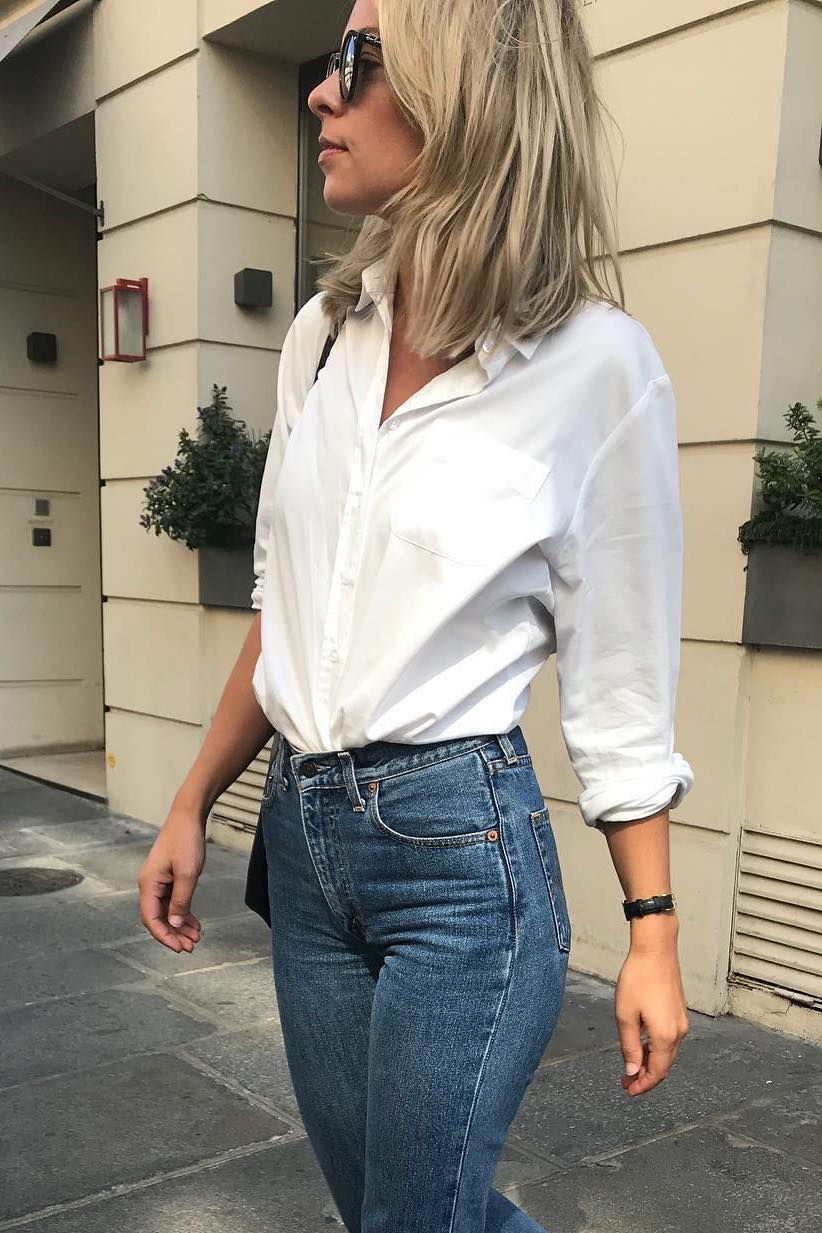 French-Girl Style for Spring — White Button-Down Shirt and High-Waisted Jeans