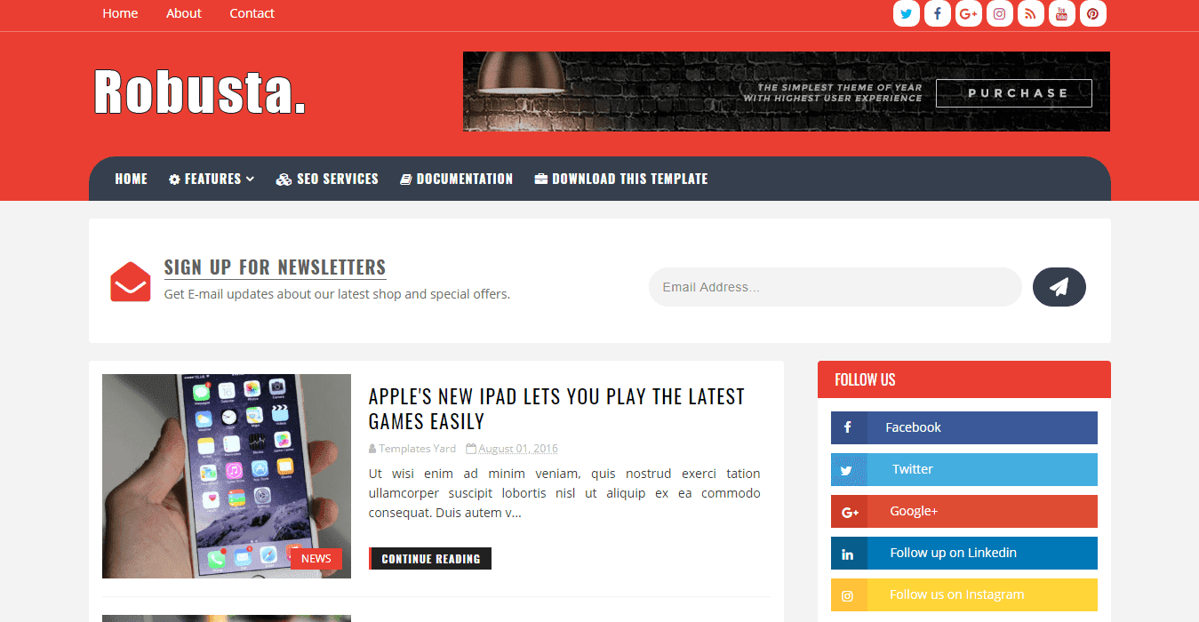 Robusta Blog Blogger Template