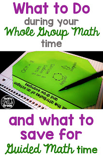 Sometimes, it makes sense to introduce your math objective for the day during small group, or guided math, time. On these days, you may wonder what you should be doing during your Whole Group Math time? This post includes several ideas!