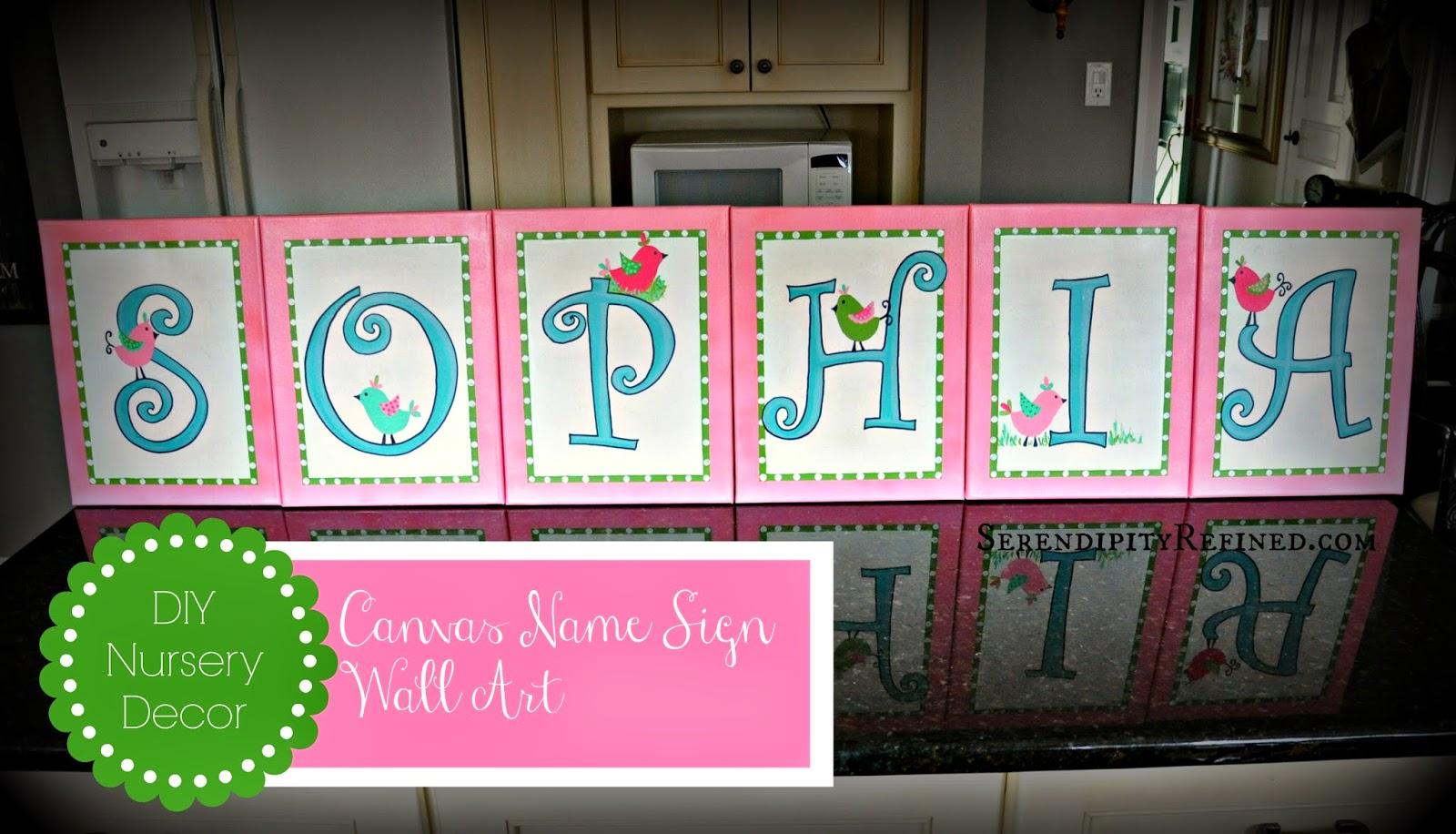 Serendipity Refined Blog: DIY Canvas Name Sign Nursery ...