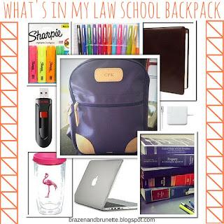 what's in my law school backpack | brazenandbrunette.com