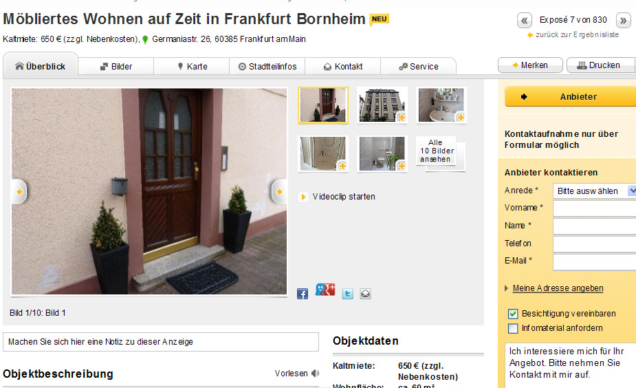m bliertes wohnen auf zeit in frankfurt bornheim germaniastr 26. Black Bedroom Furniture Sets. Home Design Ideas