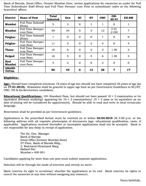 bank of baroda peon recruitment 2015 application form in ap