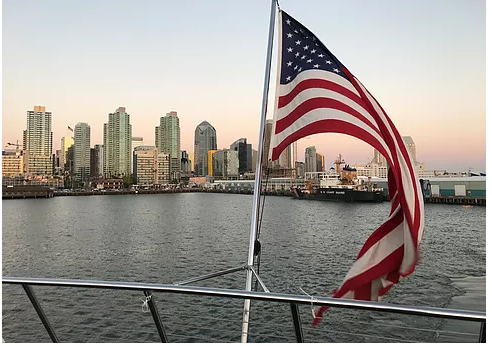 American flag by the bay