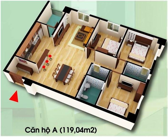 Căn hộ loại A - Chung Cư D2 CT2 Linh Đàm diện tích 119.04 m2