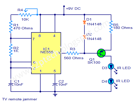 Tv Remote Jammer Circuit Diagram
