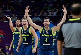 Slovenia's Luka Doncic and Goran Dragic, right, react during their Eurobasket European Basketball Championship semifinal match against Spain in Istanbul, Thursday, Sept. 14, 2017. (AP Photo/Thanassis Stavrakis)