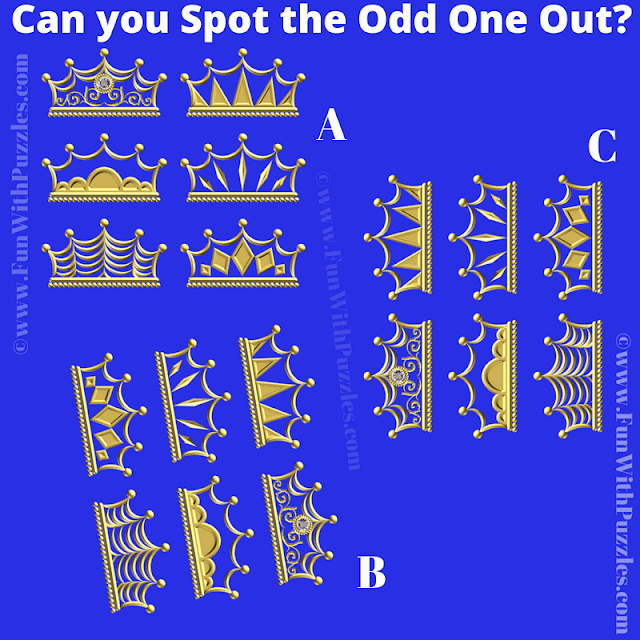 It it Odd One Out Picture Puzzle in which one has to find the crowns set which is different