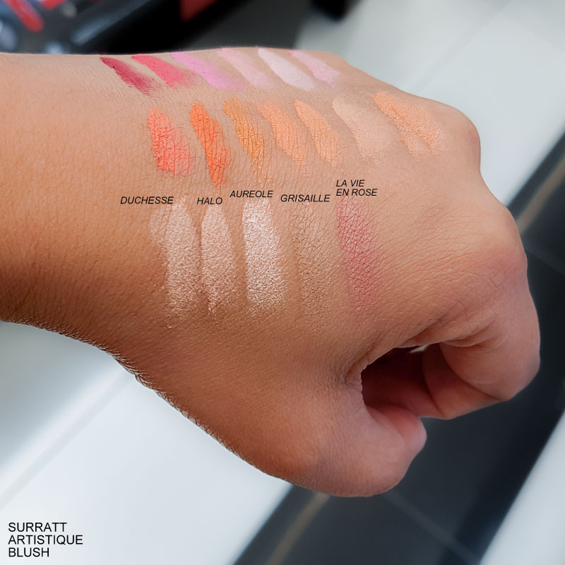 Surratt Beauty Artistique Blushes - Swatches Duchesse - Halo - Aureole - Grisaille - La Vie En Rose