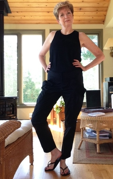 Black Wilfred Free tank from Aritzia, black cotton drawstring pants from Green Tree Eco Fashion
