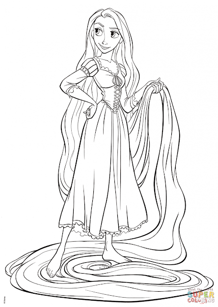 Tangled Coloring Pages Rapunzel From Tangled Coloring Page Free Printable Coloring  Pages Sheets