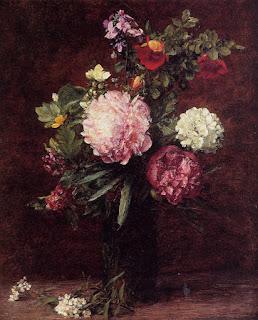 Les fleurs roses d' Henri Fantin-Latour : Bouquet avec trois pivoines