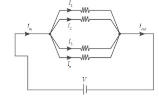 Arus yang masuk cabang (Iin) sama dengan arus yang keluar (Iout).