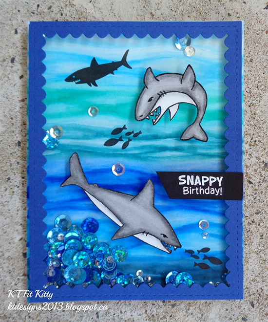 KT Fit Kitty: Shark Shaker Card | Shark Bites stamp set by Newton's Nook Designs #newtonsnook