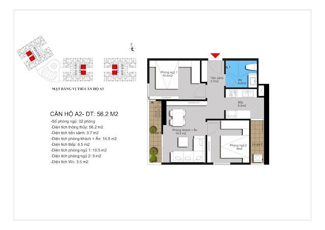 Chi tiết căn A2 chung cư Hateco Apollo