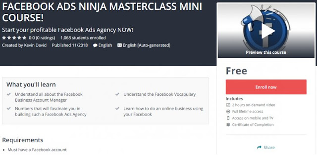 [100% Free] FACEBOOK ADS NINJA MASTERCLASS MINI COURSE!