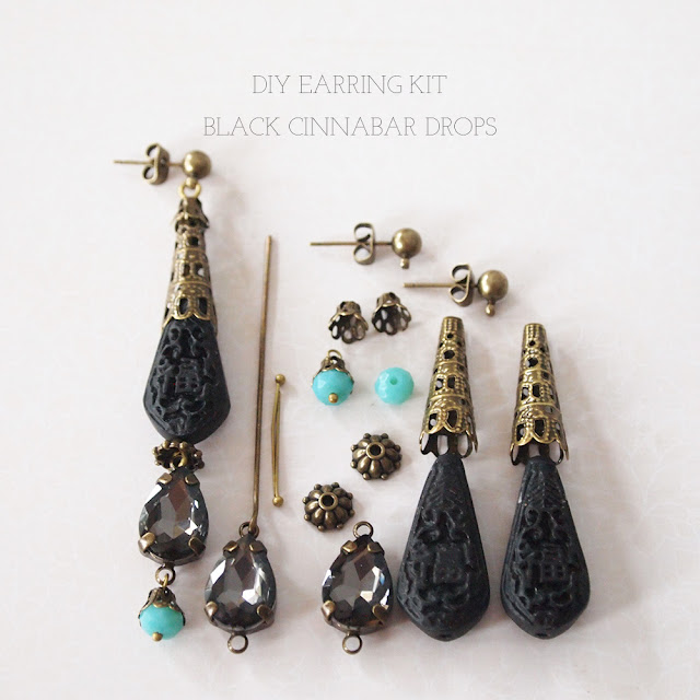 luibeads DIY earring kit black cinnabar