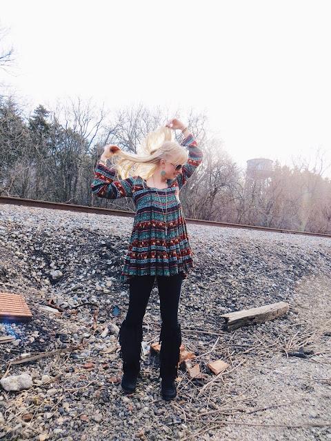 AMI Clubwear print hippie top, AMI Clubwear tall black fringe boots, SKAR Designs crystal crescent moon necklace, Kisii brass Ethiopian prayer bead bracelet, Kisii wooden Karma bracelet, boho outfit, bohemian outfit, hippie outfit, festival outfit