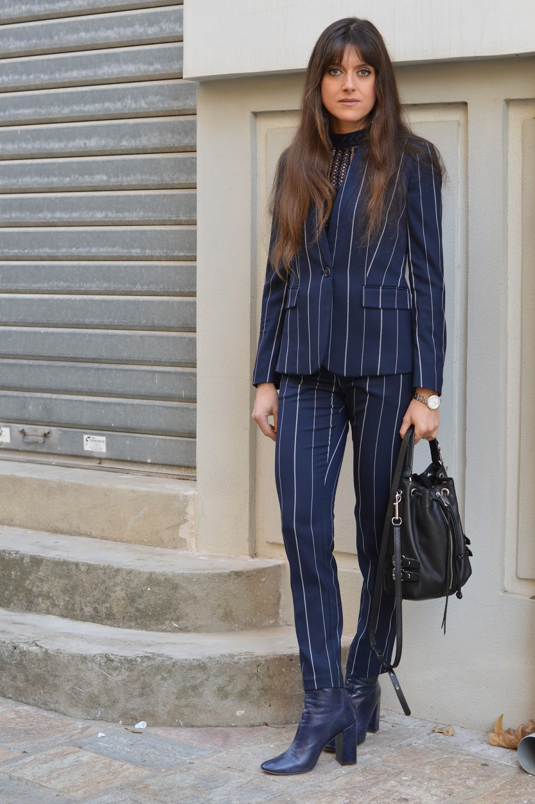 fashion musings diary striped navy blue suit costume bleu marine rayures. Black Bedroom Furniture Sets. Home Design Ideas