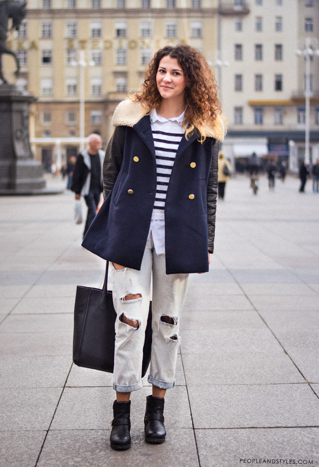 Marija Perić, kako nositi podrapane trpaperice zimi, street fashion Zagreb, ulična moda Zagreb