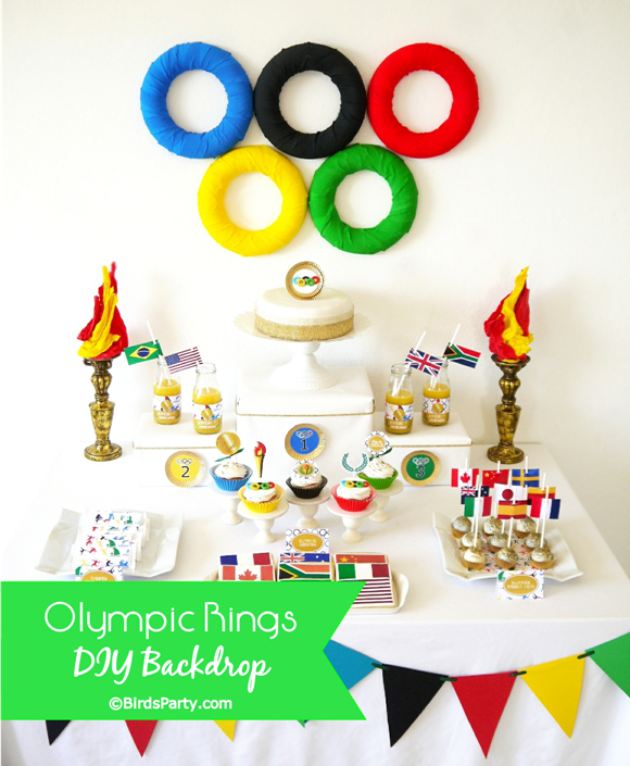 DIY Olympic Rings Dessert Table Backdrop - BirdsParty.com