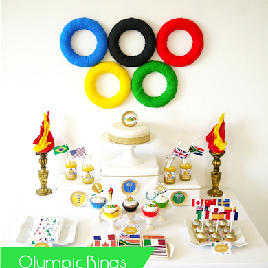 DIY Olympic Rings Dessert Table Backdrop