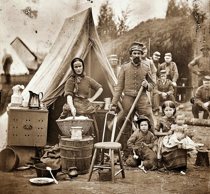 Civil War Tent Life With Family Usa 1861 Vintage Everyday