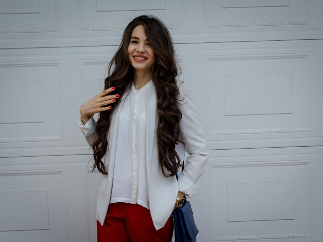 fashion_blogger_diyorasnotes_look_of_the_day_tricolor_red_pants_asos_white_shirt_mango