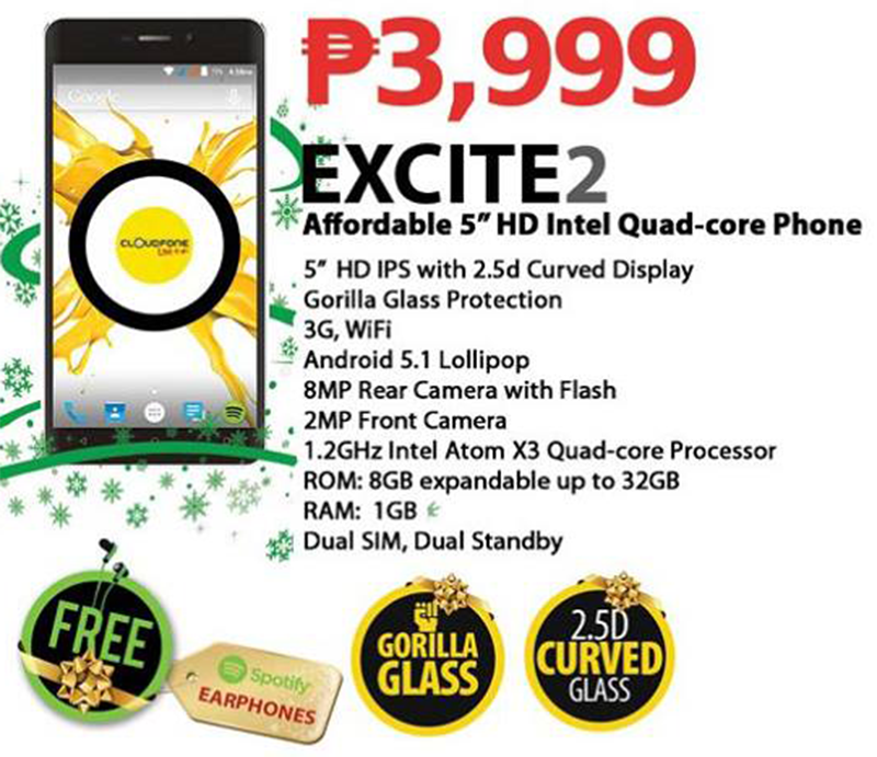 CloudFone Excite 2 Announced! Goes With 5 Inch HD 2.5D Screen And Intel SoFIA Chip For 3999 Pesos Only!