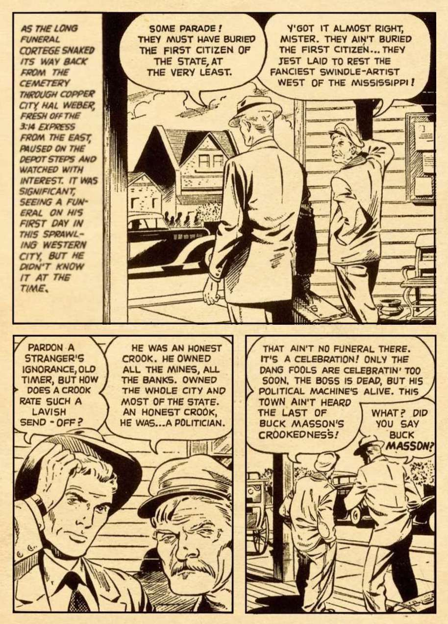 Page 3 of the story with panels of Hal Weber talking to a man at the train station about the lavish funeral precession for Buck Masson